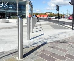 Stainless steel bollards - Serpentine Green retail park