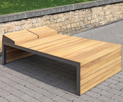 Linares outdoor timber sun lounger - double width