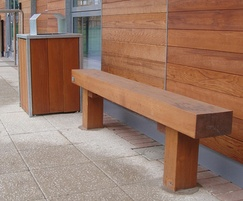 Solid timber bench and litter bin