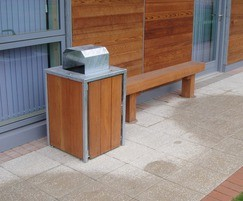 Litter bin and solid timber bench