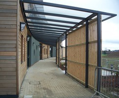 Columbus College canopy walkway with timber cladding