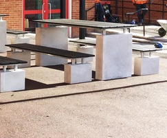 Recycled plastic & concrete bench and table