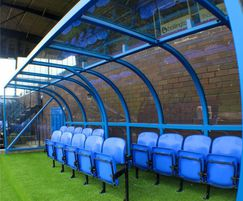 Sports dugout shelters for stadiums