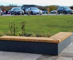Inspira L-shape corner bench clad in Scottish larch