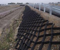 Geocell provides soil stabilisation on slopes up to 1:1
