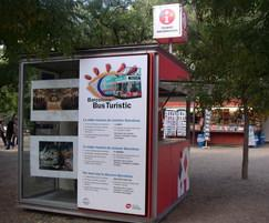 Tourist ticket booth with display windows