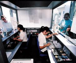 Busy interior of a security and ticket booth