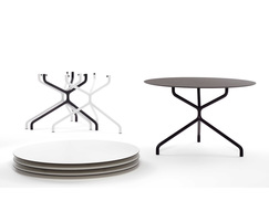 Ribaltone tables are stackable with removable tops