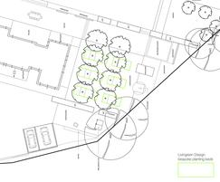 Technical drawing close up of planting beds