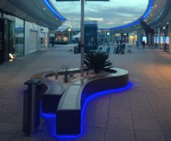 LED lighting set into composite planter