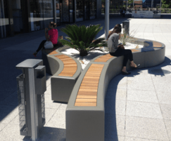 Advance composite planter with iroko slat seating