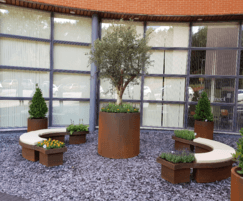 Faux corten steel system with outdoor cushions
