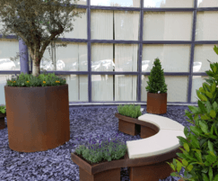 Corten steel effect planter and seating
