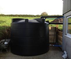 Polyethylene rainwater harversting tank installed