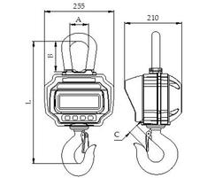 PCE-CS 3000N crane scale dimensions