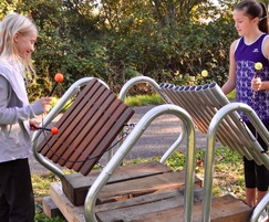 Steel frame outdoor musical instruments for community