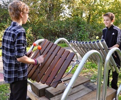 Steel frame xylophone in use