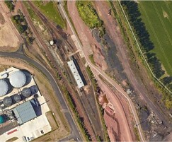 Rail yard, maintenance shed and oil/diesel tanks