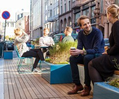 PARKLET 2.0 - timber decking, seating, planters, table