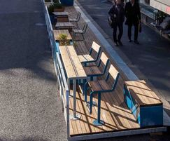 PARKLET 2.0 with timber decking and street furniture