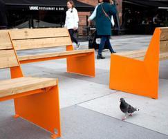 BLOC benches powder coated in orange