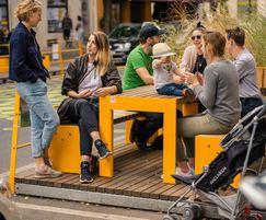 Modular Parklet units transform parking areas
