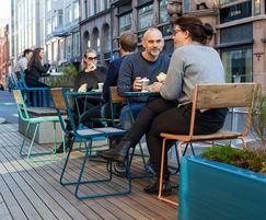 PARKLET module extends pavement for cafe area