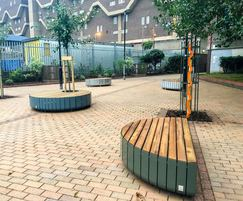 Stripes benches used at Southwyck House, Brixton