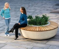 SOL security bench with central planter