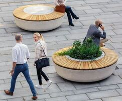 SOL concrete and timber bench with central planter
