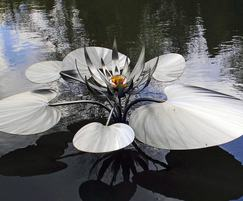 Steel water lily sculpture
