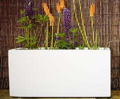 Jumbo polystone trough planter - Marble White