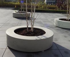 Polymer concrete bodil circular seat planter