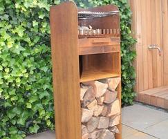 Skipp corten steel barbeque and wood burner
