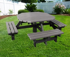 Recycled Plastic Octagonal Picnic Table Seats NBB - Recycled plastic octagon picnic table