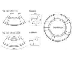 WOOD-Line Round tree seat drawings