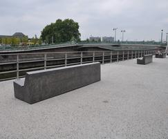 Seats sited alongside Charleroi docks