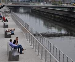 Outdoor seating along docks - Charleroi, Belgium