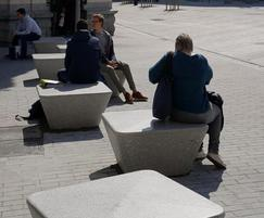 Charlie square cast stone benches - Rive Gauche centre