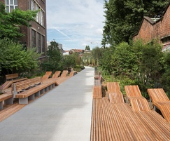 Contemporary street furniture and large format paving