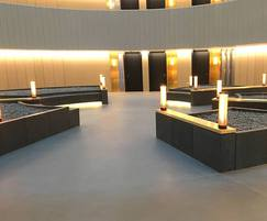 Dark concrete benches with additional lighting
