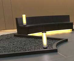 Dark concrete benches by Urbastyle with lighting