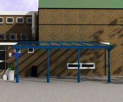 Toughened glass school canopy, powder-coated blue