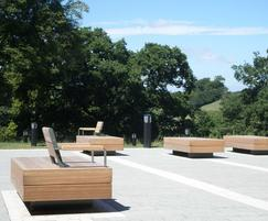 Exterior seating for Bath Spa University campus