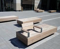 Exterior benches for Bath Spa University campus