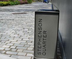Word litter bin - Stephenson Quarter
