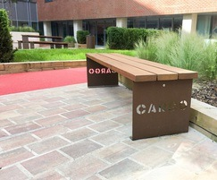 Bespoke bench with corten steel ends - Baltic Triangle