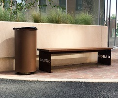 Corten litter bin and bespoke bench - Baltic Triangle