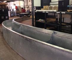 Steel planters being fabricated in workshop