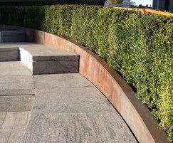 Powder coated galvanised steel planter and stone bench